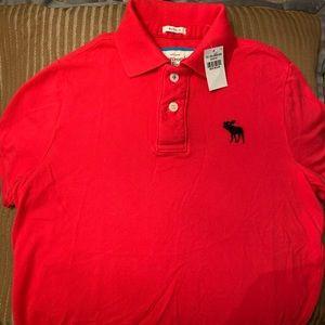 Men's red Abercrombie polo